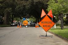 "Orange And Black ""Workers Ahea..."