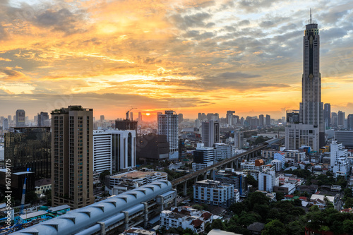 Modern architecture, Cityscape with sunrise, Blue sky and cloud,  Bangkok, Thailand