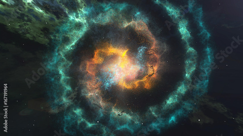 Pinturas sobre lienzo  Glowing Spiral of nebula Galaxy in the space.