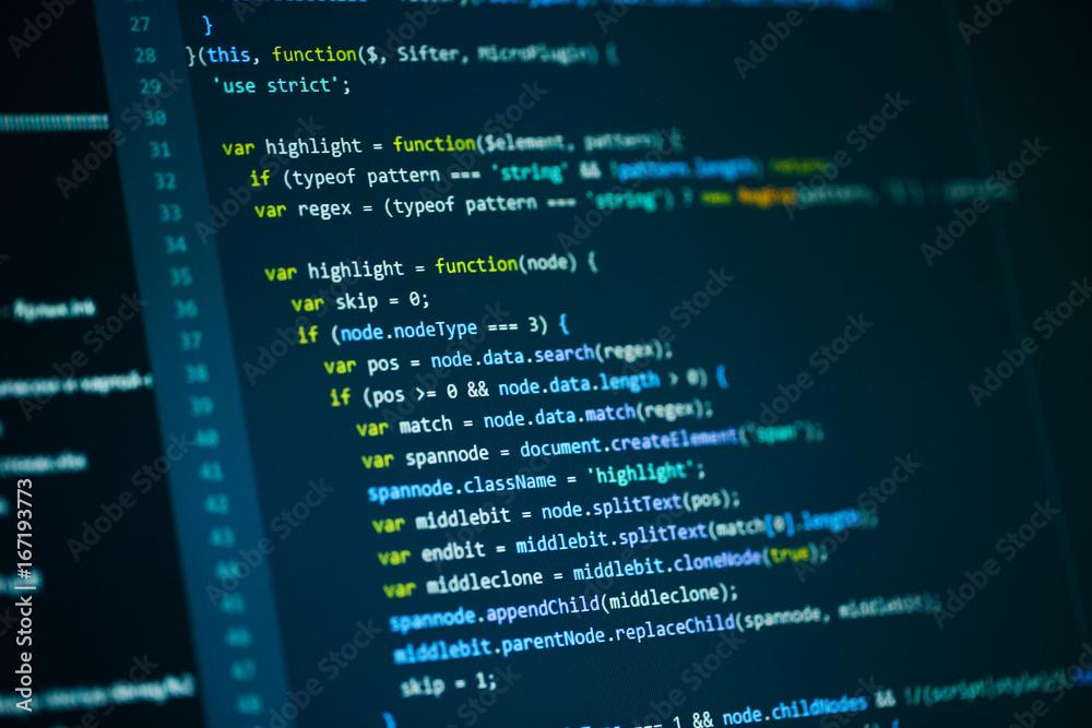 Fototapeta Software computer programming code