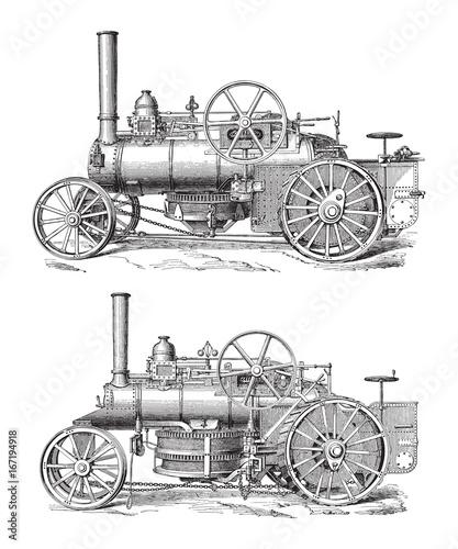 Obraz na płótnie Old steam engine - vintage illustration
