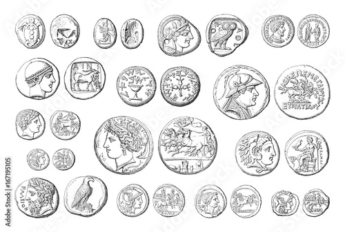 Cuadros en Lienzo Ancient coins collection (roman and greek) - vintage illustration
