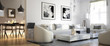 Leinwanddruck Bild - Raumadaptation: Wohnzimmer (panoramisch)