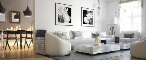 Fototapeta Raumadaptation: Wohnzimmer (panoramisch) obraz