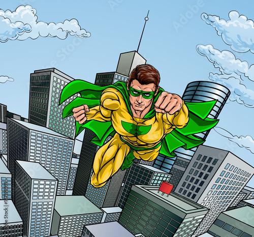 Photo  Flying Superhero City Scene