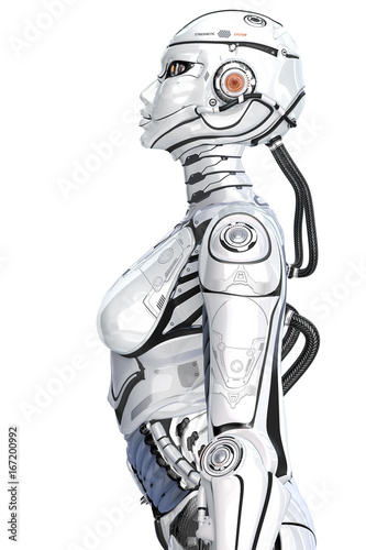 Photo A female high detailed robot with internal cyber technology, side view isolated on white background