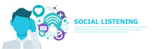 Banner Social Listening. The Man Leaned His Hand To His Ear, And Listens To Icons