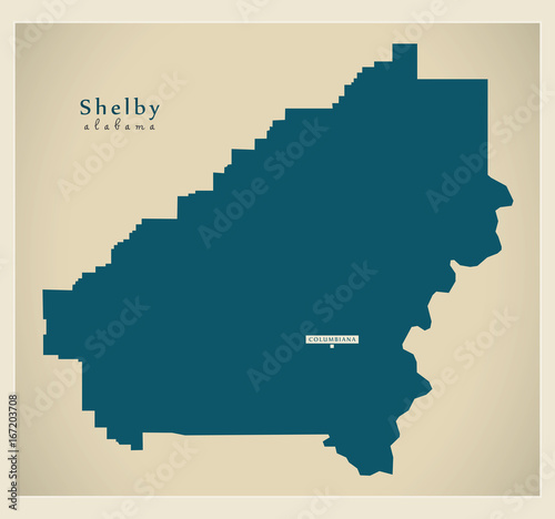 Fotomural Modern Map - Shelby Alabama county USA illustration