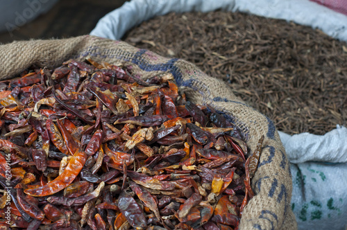 Close-up of dried chillies Canvas Print