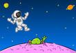 Grüner Außerirdischer winkt einem Astronaut zu