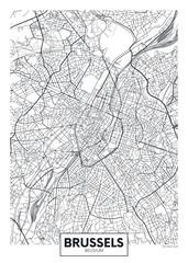 Fototapeta Detailed vector poster city map Brussels