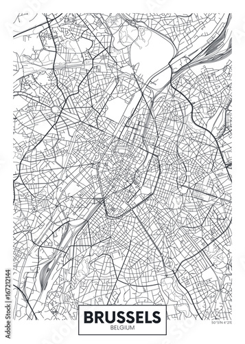 Foto Detailed vector poster city map Brussels