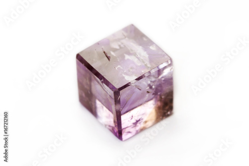 Tuinposter Amethyst cube isolated on a white background