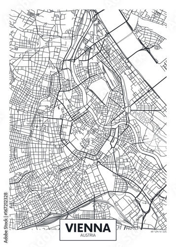 obraz lub plakat Detailed vector poster city map Vienna