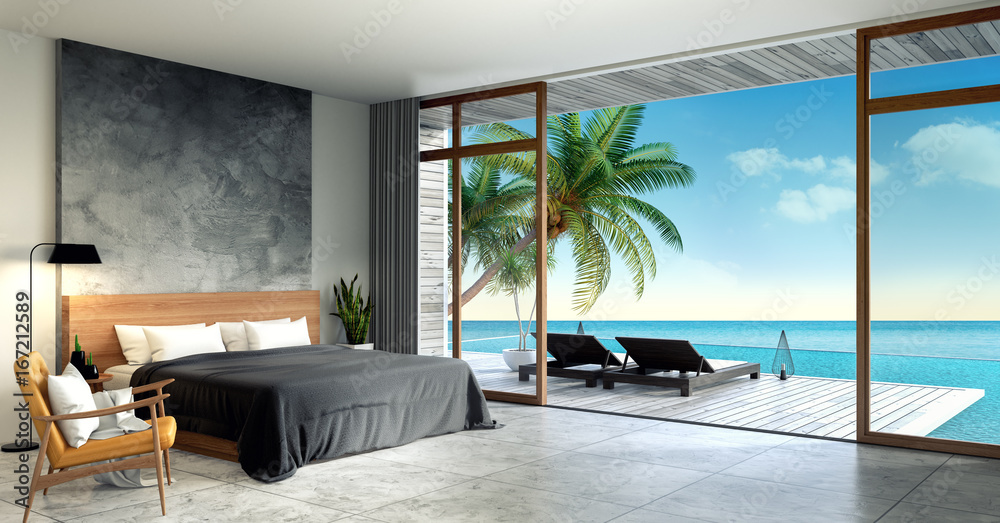 Fototapety, obrazy: Modern Loft  interior of Bedroom ,Summer , sun loungers on Sunbathing deck and private swimming pool with  panoramic sea view at villa/3d rendering