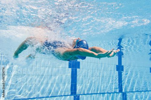 Backstroke swimming start Canvas Print
