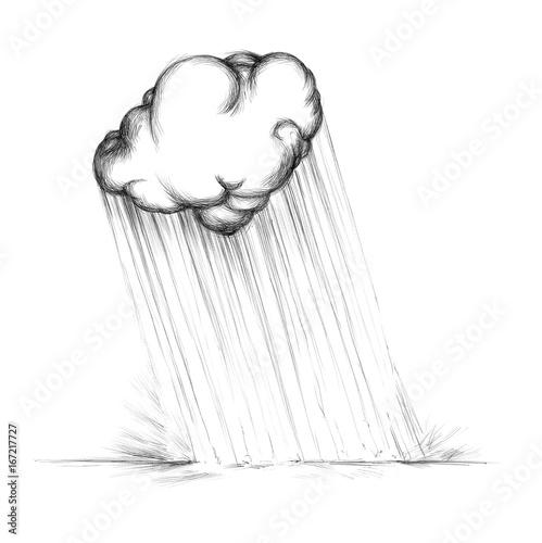 Fotografie, Obraz  Regenwolke gießt auf Boden
