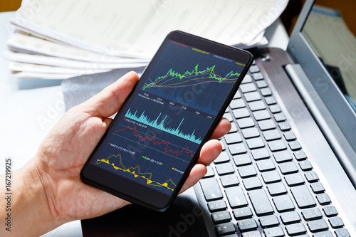 Canvas Prints Textures Stock market data on moblie phone