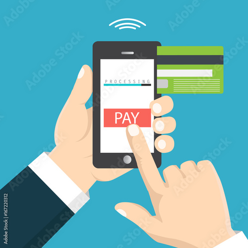 Mobile Payment Concept Hand Holding A Phone Smartphone Wireless Money Transfer Flat Design