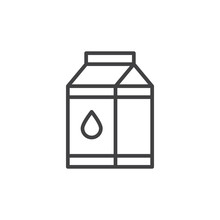 Milk Carton Box Line Icon, Out...