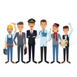white background with group male people of different professions vector illustration