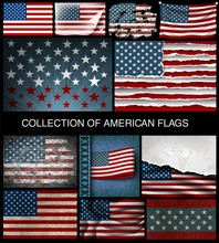 Set Of American Flags Of Devel...