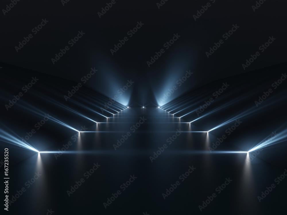 Fototapety, obrazy: Futuristic dark podium with light and reflection background