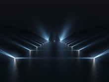 Futuristic Dark Podium With Li...