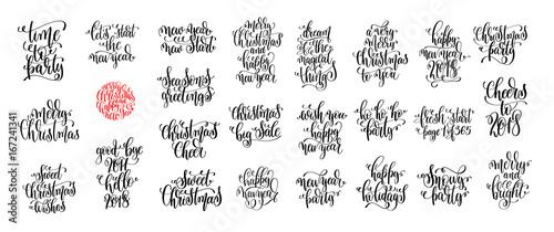 Fotografía  set of 25 hand lettering christmas quotes design