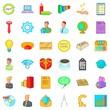 Online marketing icons set, cartoon style