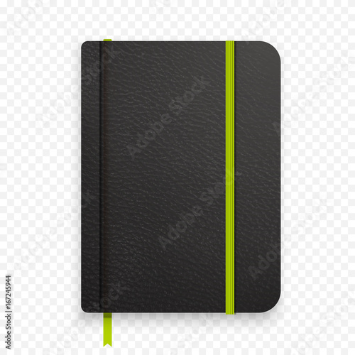 Photo Realistic black notebook with green elastic band