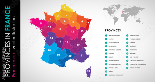 Vector map of France and provinces COLOR Wallpaper Mural