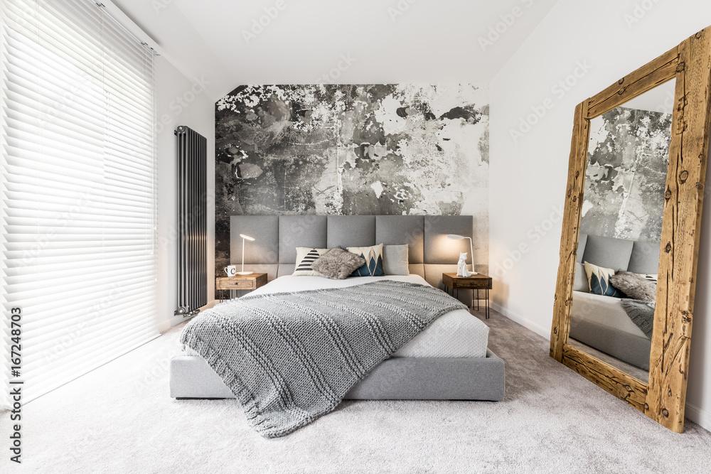 Fototapety, obrazy: Bedroom with large wooden mirror