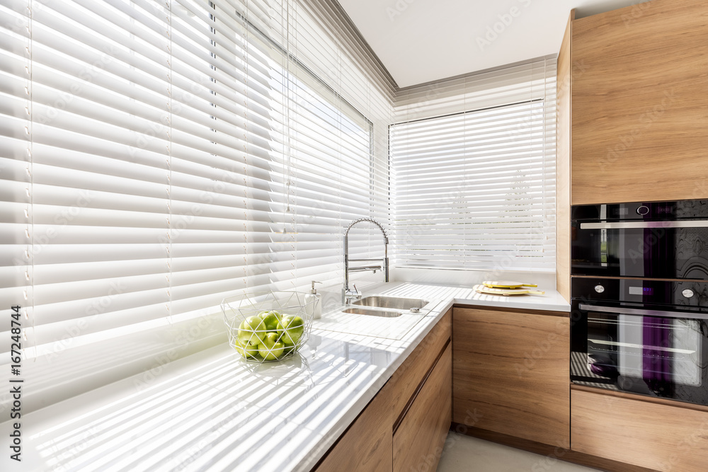 Fototapety, obrazy: Kitchen with white window blinds