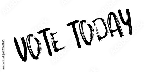 Fototapety, obrazy: Vote Today rubber stamp. Grunge design with dust scratches. Effects can be easily removed for a clean, crisp look. Color is easily changed.