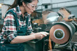 beauty pretty female lathe company employee