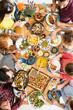 Leinwanddruck Bild - Healthy people eating together slow food