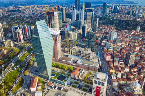 Aerial view business and financial district of Istanbul, Turkey