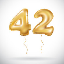Vector Golden 42 Number Forty-two Metallic Balloon. Party Decoration Golden Balloons. Anniversary Sign For Happy Holiday, Celebration, Birthday, Carnival, New Year.