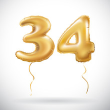 Vector Golden 34 Number Thirty Four Metallic Balloon. Party Decoration Golden Balloons. Anniversary Sign For Happy Holiday, Celebration, Birthday, Carnival, New Year.