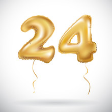 Vector Golden 24 Number Twenty Four Metallic Balloon. Party Decoration Golden Balloons. Anniversary Sign For Happy Holiday, Celebration, Birthday, Carnival, New Year.