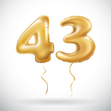 Vector Golden 43 Number Forty Three Metallic Balloon. Party Decoration Golden Balloons. Anniversary Sign For Happy Holiday, Celebration, Birthday, Carnival, New Year.
