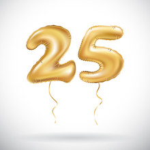Vector Golden Number 25 Twenty Five Metallic Balloon. Party Decoration Golden Balloons. Anniversary Sign For Happy Holiday, Celebration, Birthday, Carnival, New Year.
