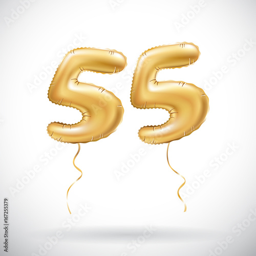 vector Golden number 55 fifty five metallic balloon. Party decoration  golden balloons. Anniversary sign for happy holiday, celebration, birthday,  carnival, ... 3667c59156