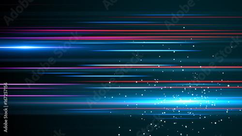 Fotomural  Light and stripes moving fast over dark background.