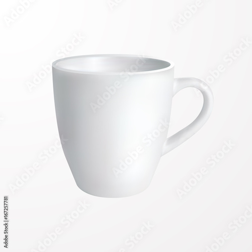 White mug Vector illustration Realistic design template of classic ...