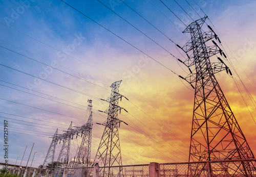 Fototapeta Electricity power station over blue with cloud sky obraz