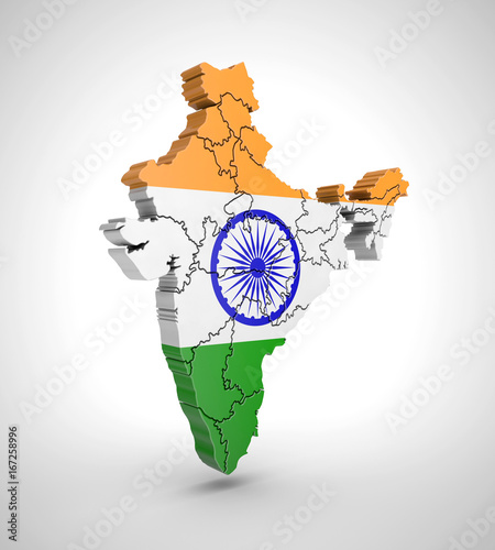 Map of India with flag and shadow on gray background Wallpaper Mural