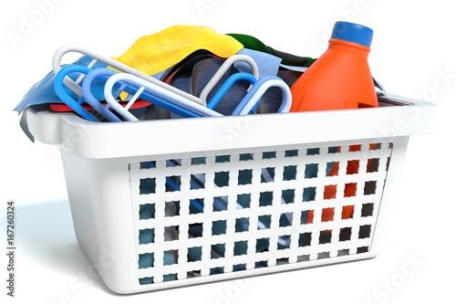 Fotografie, Obraz  3d illustration of a basket of clothes