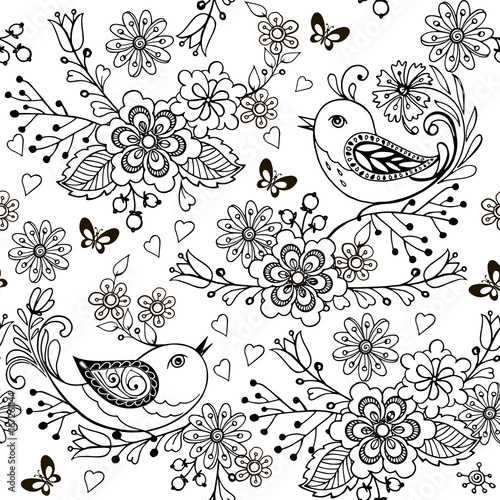 Hand Drawn Flowers And Birds For The Anti Stress Coloring Page